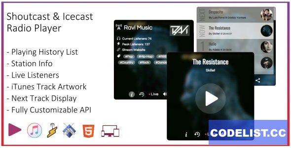 SHOUTcast and Icecast Radio Web Player v1.2