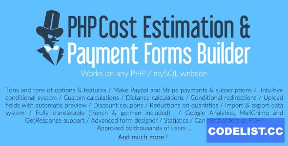 PHP Cost Estimation & Payment Forms Builder (18 june 2020)