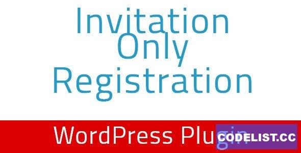 Invitation Only Registration v1.4 - WordPress Plugin