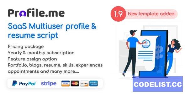 Profile.me v1.9 - Saas Multiuser Profile & Resume Script - nulled