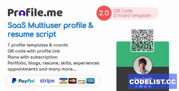 Profile.me v2.0 - Saas Multiuser Profile Resume & Vcard Script