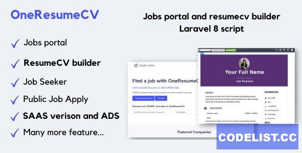OneResumeCV v1.0.4 - Jobs board and resume builder