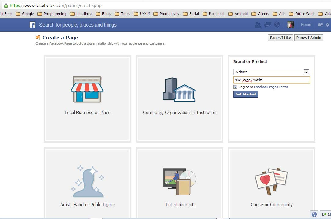 Creating a brand or product Facebook page.