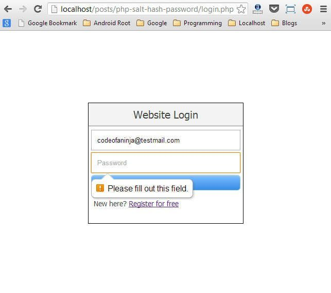 Just an example HTML5 validation during login.