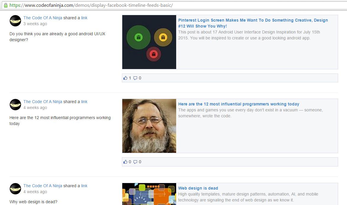display Facebook page posts on website - demo screenshot