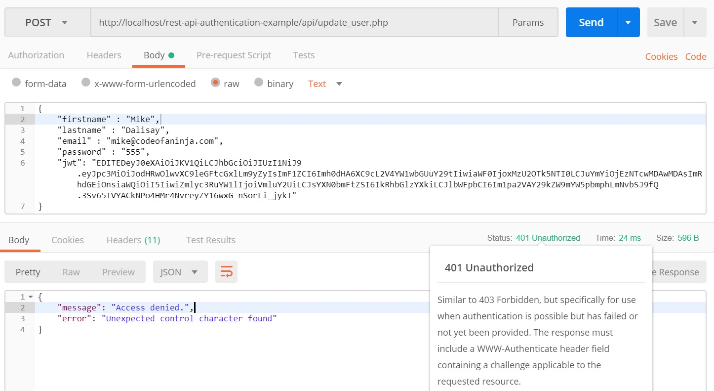 REST API Authentication Example in PHP - JWT Tutorial -