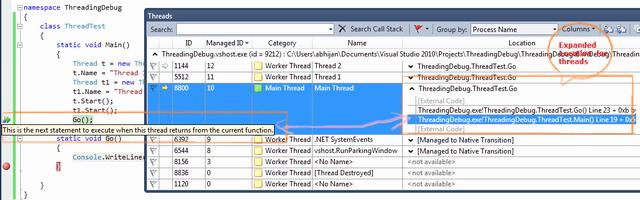 Multithreaded debugging