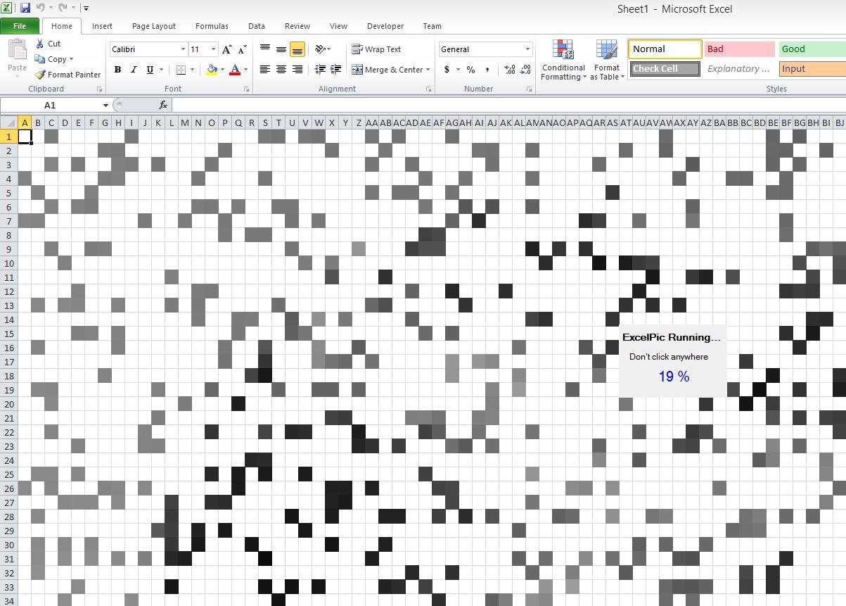 Excel Pixelating Image Creator