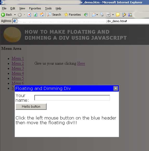 How To Make Floating and Dimming a Div using JavaScript ...
