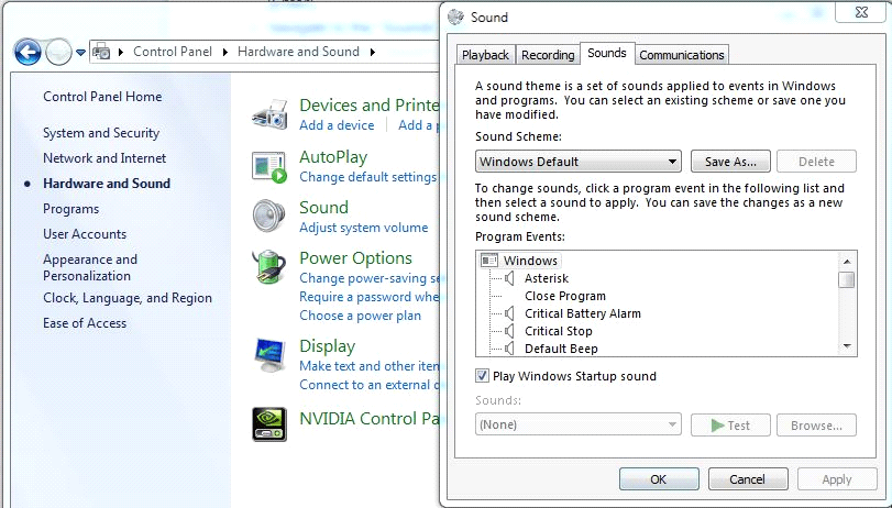 Disable Windows Sounds