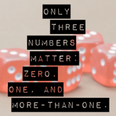 only_3_numbers-300x300 Only three numbers matter: zero, one, and more-than-one. software design meetings advice
