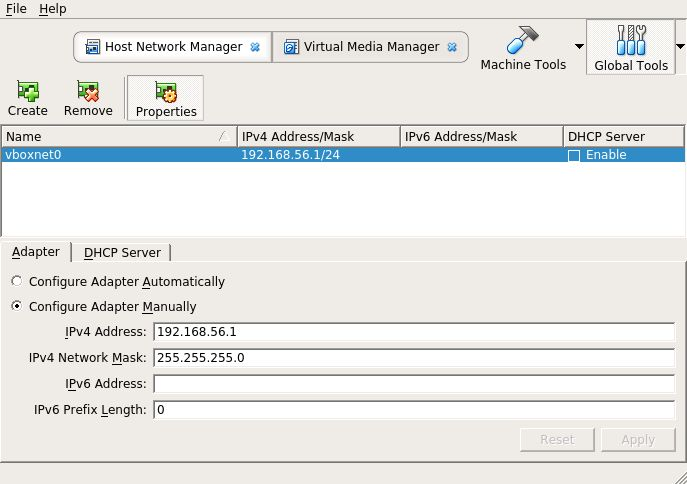VirtualBox's host network manager showing a new host-only adapter