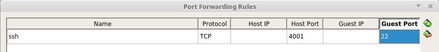 An example of port-forwarding configuration