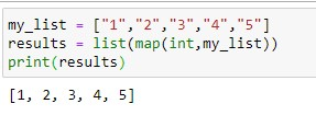 Convert list of Strings to Ints in Python using map function