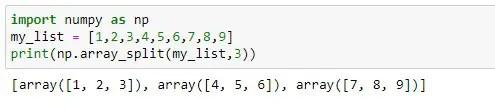 Splitting list into chunks of three using Numpy Python module