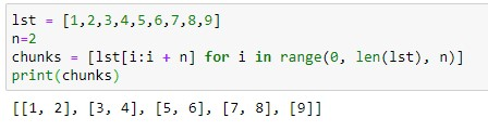 Splitting list into chunks of two using List comprehension