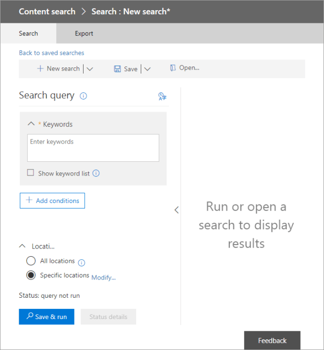 How to export Office 365 mailboxes to pst New Search - choose what to export