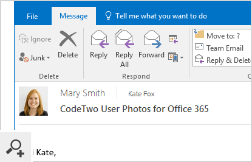 Users belonging to one Office 365 organization can see each other's photos in Outlook messages.
