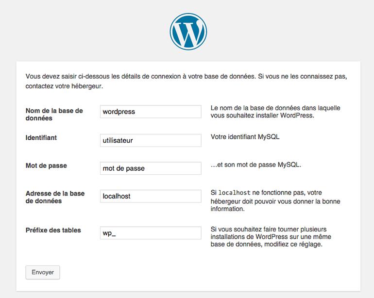 configuration base de données WordPress
