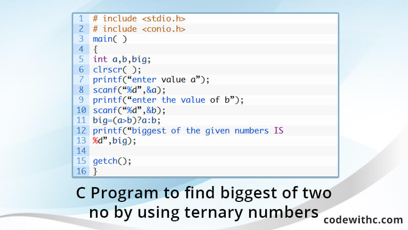 C Program To Find Biggest Of Two No By Using Ternary