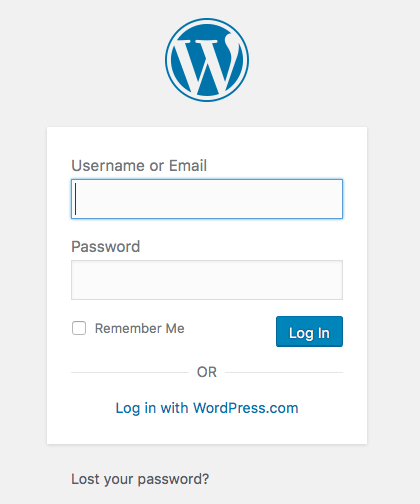 Logging in to WordPress