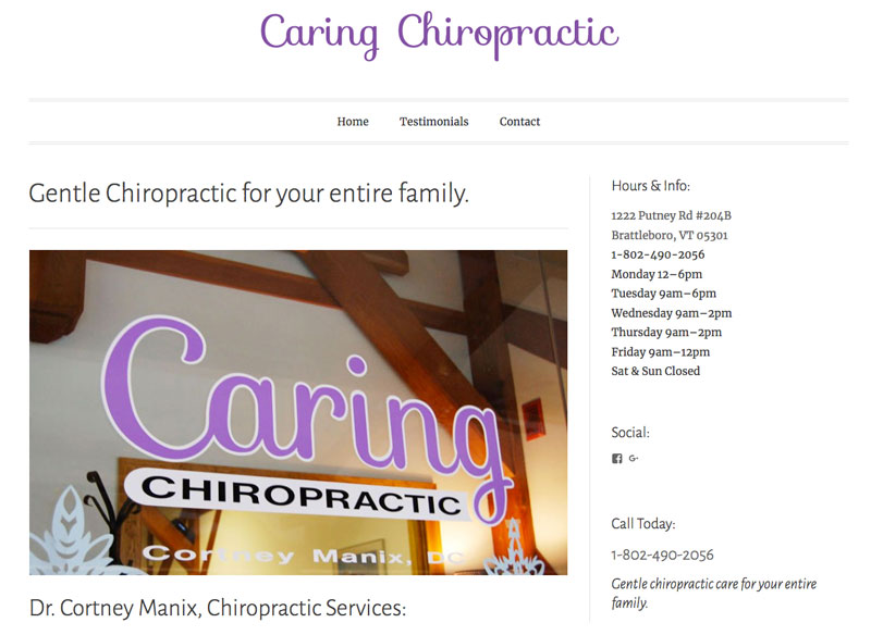 Brattleboro Chiropractic Website Design