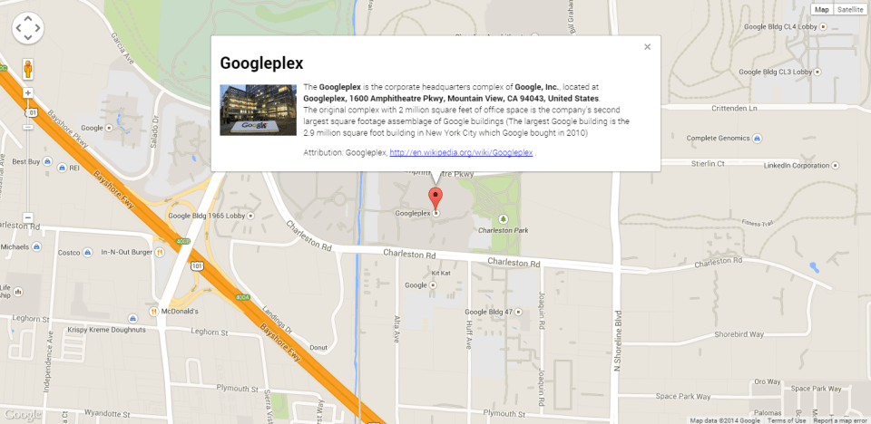 Googleplex map with image and information window screenshot