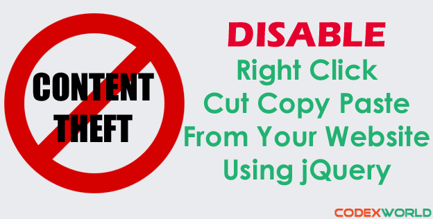 Disable mouse right click, cut, copy and paste using jQuery