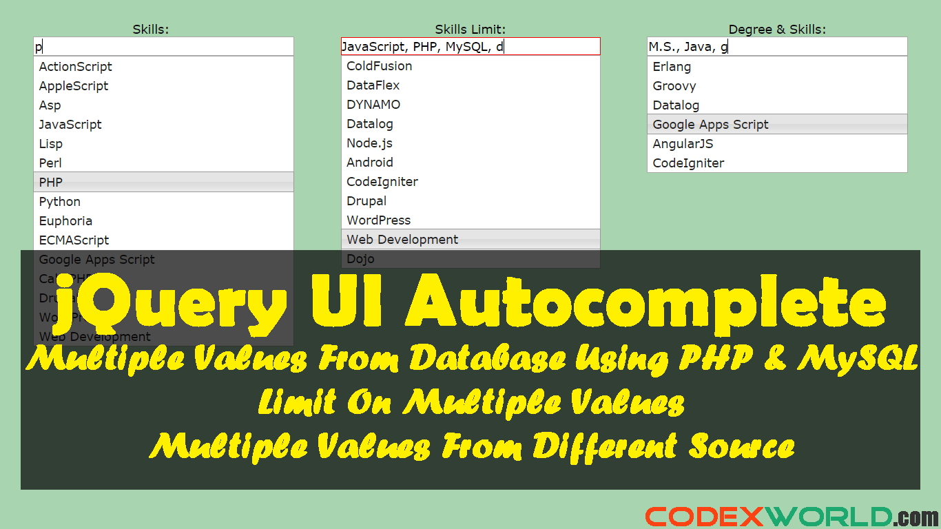 Autocomplete Textbox with Multiple Values using jQuery, PHP