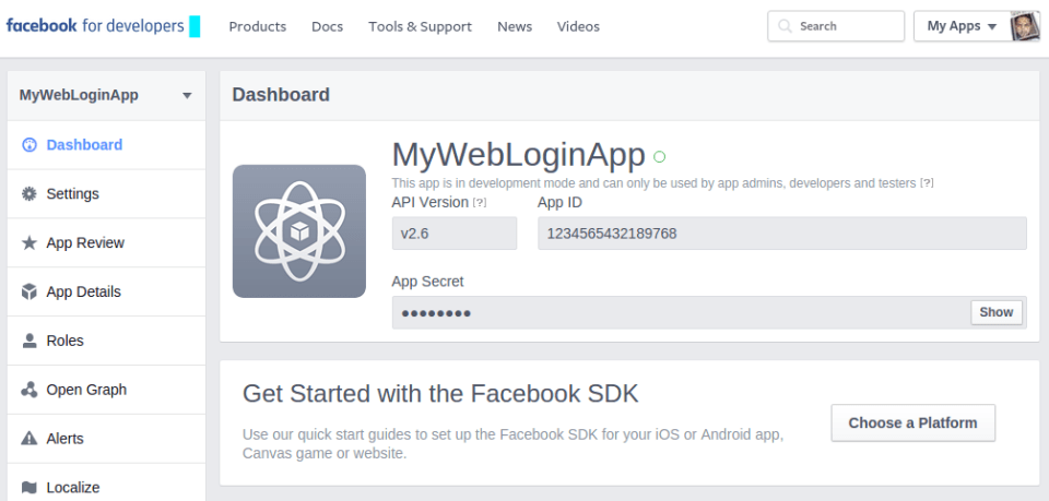 facebook-app-creation-tutorial-dashboard-by-codexworld