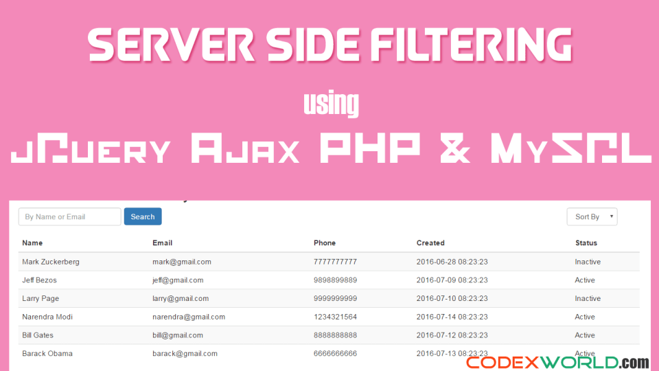 Server Side Filtering using jQuery Ajax PHP and MySQL