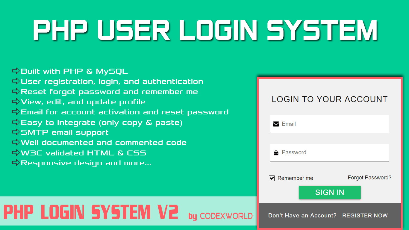 PHP User Login System - CodexWorld