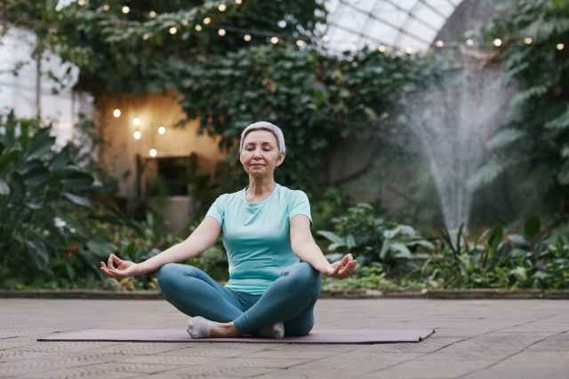 healthy woman relaxation garden
