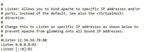 Cambiar el puerto de apache wamp en archivo httpd.conf