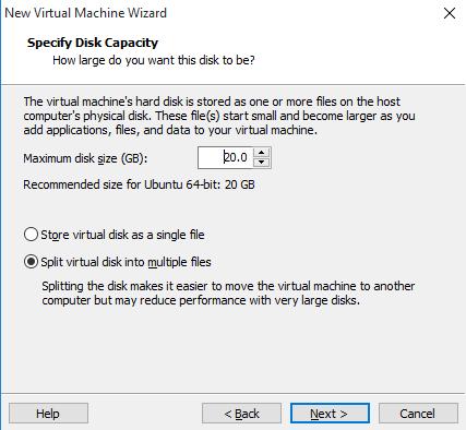 Definir tamaño de disco de la maquina virtual