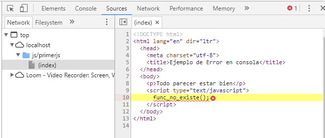 Archivo de js que genero el error