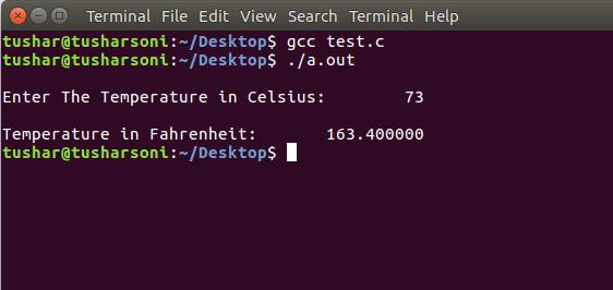 Convert Celsius To Fahrenheit in C Programming Language