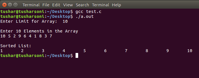 Sort Array Elements using Quick Sort Algorithm in C Programming