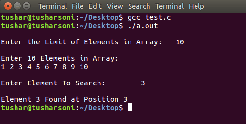 Search Element in Array using Binary Search using Recursion in C Programming