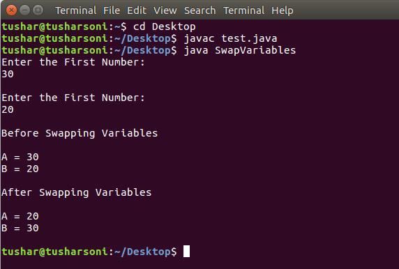 Swap Variables using Bitwise Operators in Java Programming Language