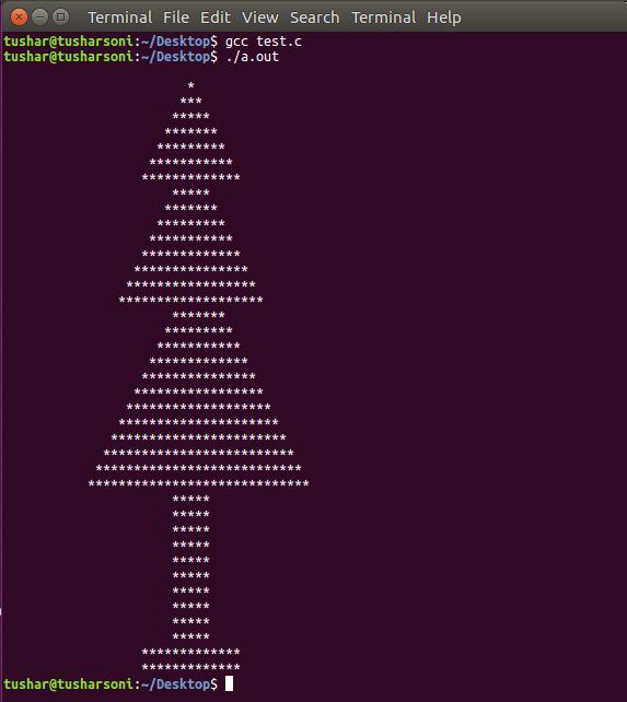 C Program To Print Christmas Tree