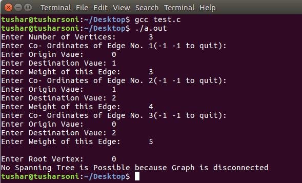 C Program To Implement Prim's Algorithm to create Minimum Spanning Tree