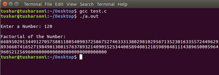 Find Factorial of Large Numbers in C Programming using Arrays for Big Integers