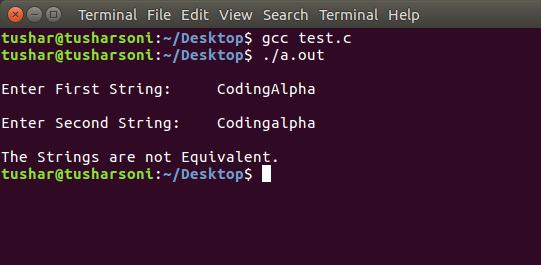 C Program To Compare Two Strings using Pointers, strcmp() function and without library function