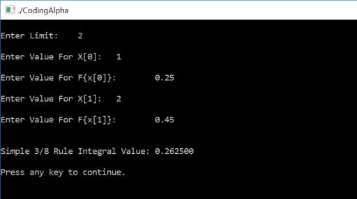 Simpson's 3/8 Rule in C Programming using Function