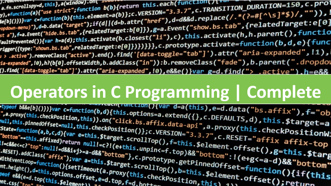 Types of C Operators in C Programming with Example and Explanation