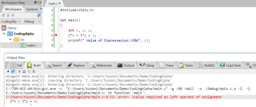 error lvalue required as left operand of assignment gcc compiler output