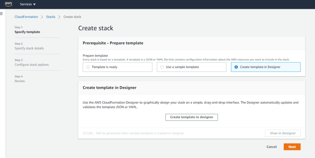 CloudFormation create stack screen