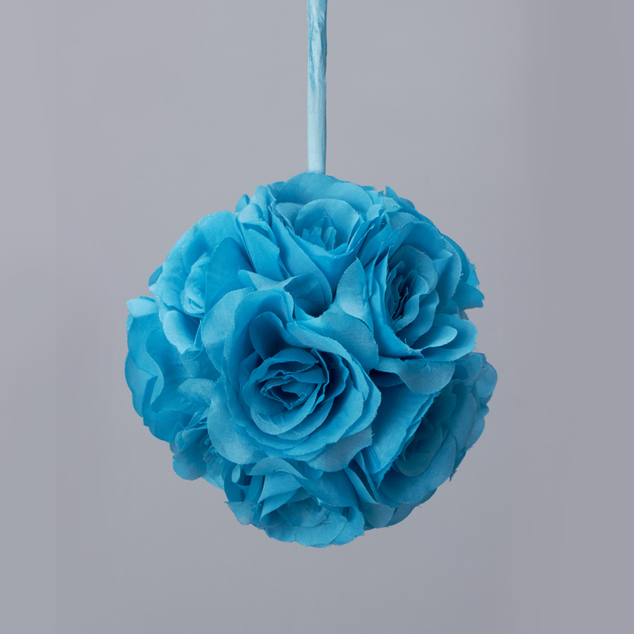 turquoise 10 inch silk flower pomander kissing balls  Quick View
