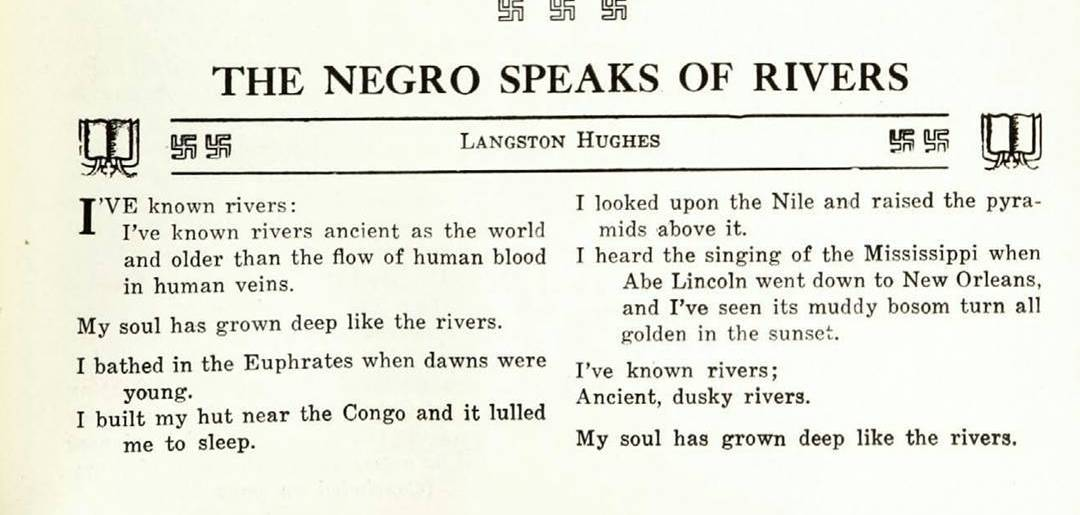 Happy Black History Month &  Happy Birthday Langston Hughes, from the Crisis, June 1921 (back when the swastika was a wingding)